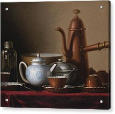 Composition With A Copper Pitcher And A Tea Set Acrylic Print by Celestial Images