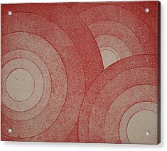 Concentric Red Acrylic Print by Erik Paul
