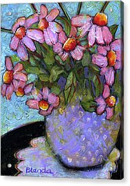 Coneflowers In Lavender Vase Acrylic Print by Blenda Studio