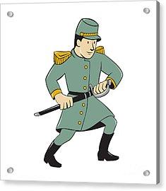 Confederate Army Soldier Drawing Sword Cartoon Acrylic Print by Aloysius Patrimonio