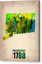 Connecticut Watercolor Map Acrylic Print by Naxart Studio