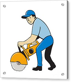 Construction Worker Concrete Saw Cutter Isolated Acrylic Print by Aloysius Patrimonio