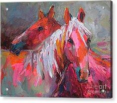 Contemporary Horses Painting Acrylic Print by Svetlana Novikova