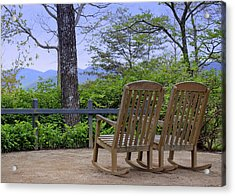 A Conversation Between Trees And Two Wooden Rocking Chairs Acrylic Print by Katharine Hanna