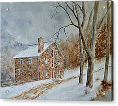 Cooper Gristmill In Winter Acrylic Print by Denise Harty