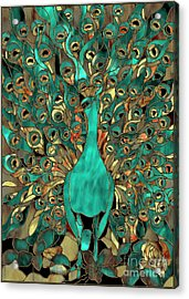 Copper And Aqua Peacock Acrylic Print by Mindy Sommers