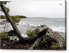 Copper Harbor Waves Acrylic Print by Sandra Updyke