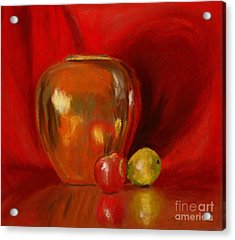 Copper Pot And Fruit Acrylic Print by Mary Benke