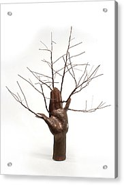 Copper Tree Hand A Sculpture By Adam Long Acrylic Print by Adam Long