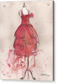 Coral Pink Party Dress Acrylic Print by Lauren Maurer