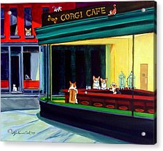 Corgi Cafe After Hopper Acrylic Print by Lyn Cook