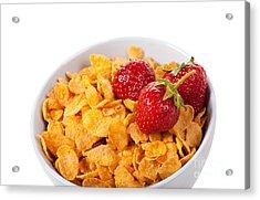 Cornflakes And Three Fresh Strawberries In Bowl  Acrylic Print by Arletta Cwalina