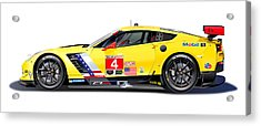 Corvette C7.r Lm Illustration Acrylic Print by Alain Jamar