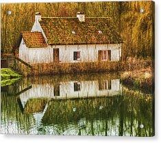 Cottage Reflection Acrylic Print by Wim Lanclus
