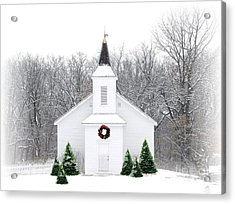 Country Christmas Church Acrylic Print by Carol Sweetwood