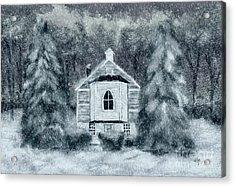 Country Church On A Snowy Night Acrylic Print by Lois Bryan