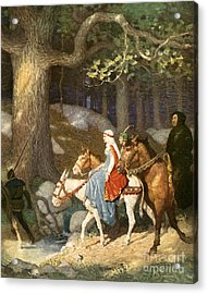 Country Folk Wending Their Way To The Tourney Acrylic Print by Newell Convers Wyeth
