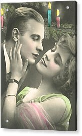 Couple About To Kiss In Front Of Christmas Tree Acrylic Print by French School