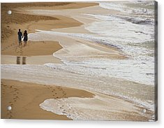 Couple Walking Makena Beach Acrylic Print by Panoramic Images