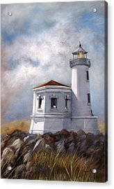 Couquille River Lighthouse  Bandon Ore. Acrylic Print by Lynne Parker