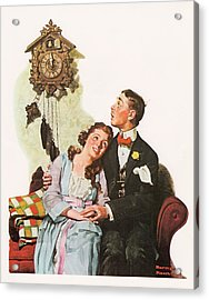 Courting Couple At Midnight Acrylic Print by Norman Rockwell
