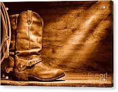 Cowboy Boots On Wood Floor - Sepia Acrylic Print by Olivier Le Queinec
