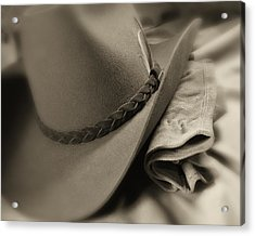Cowboy Hat And Gloves Acrylic Print by Tom Mc Nemar
