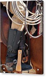 Cowboy Tack Acrylic Print by Joan Carroll