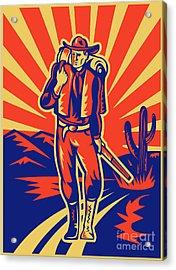 Cowboy With Backpack And Rifle Walking Acrylic Print by Aloysius Patrimonio