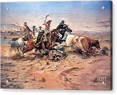 Cowboys Roping A Steer Acrylic Print by Charles Marion Russell