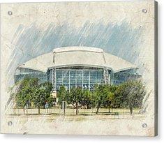 Cowboys Stadium Acrylic Print by Ricky Barnard