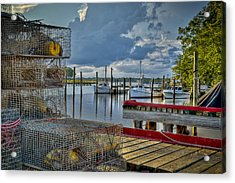 Crabpots And Fishing Boats Acrylic Print by Williams-Cairns Photography LLC