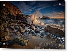 Crashing Waves On Rodeo Beach Acrylic Print by Rick Berk
