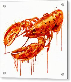 Crawfish Watercolor Painting Acrylic Print by Marian Voicu