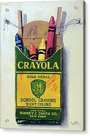 Crayola Crayons Painting Acrylic Print by Linda Apple