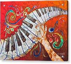 Crazy Fingers - Piano Keyboard  Acrylic Print by Sue Duda