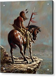 Crazy Horse_digital Study Acrylic Print by Harvie Brown