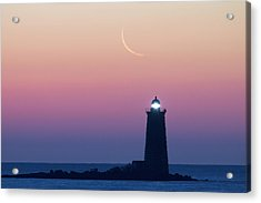 Crescent Moon Over Whaleback Acrylic Print by Eric Gendron