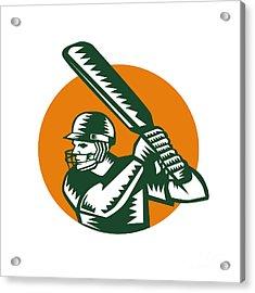 Cricket Player Batsman Batting Circle Woodcut Acrylic Print by Aloysius Patrimonio