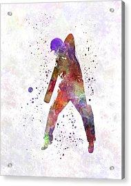 Cricket Player Batsman Silhouette 02 Acrylic Print by Pablo Romero