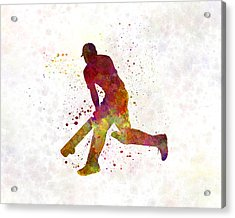 Cricket Player Batsman Silhouette 03 Acrylic Print by Pablo Romero