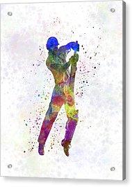 Cricket Player Batsman Silhouette 05 Acrylic Print by Pablo Romero