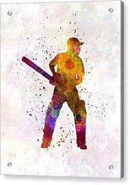 Cricket Player Batsman Silhouette 07 Acrylic Print by Pablo Romero
