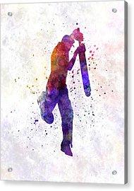 Cricket Player Batsman Silhouette 09 Acrylic Print by Pablo Romero