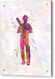 Cricket Player Batsman Silhouette 10 Acrylic Print by Pablo Romero