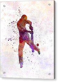Cricket Player Batsman Silhoutte Acrylic Print by Pablo Romero