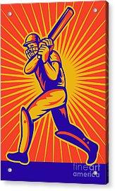 Cricket Sports Batsman Batting Acrylic Print by Aloysius Patrimonio
