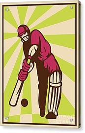 Cricket Sports Batsman Batting Retro Acrylic Print by Aloysius Patrimonio