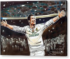 Cristiano Ronaldo Of Real Madrid Acrylic Print by Dave Olsen