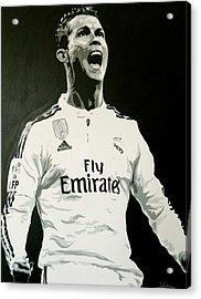 Cristiano Ronaldo Real Madrid Acrylic Print by Scott Strachan